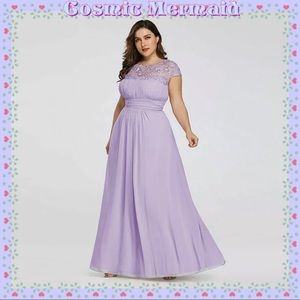Dresses & Skirts - 🆕💜Lavender Lace Chiffon Grecian Dress💜Plus Size